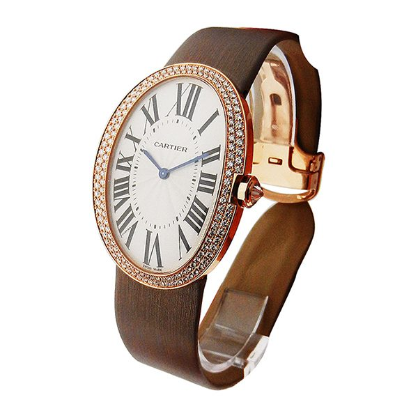 Cartier Baignoire Large in Rose Gold with Diamond Bezel Ladies' Watch